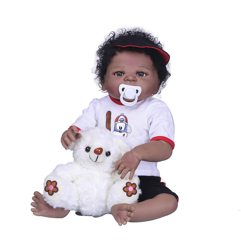 56cm peau noire Reborn poupée Simulation bébé vinyle Silicone enfants accompagnent jouet nouveau