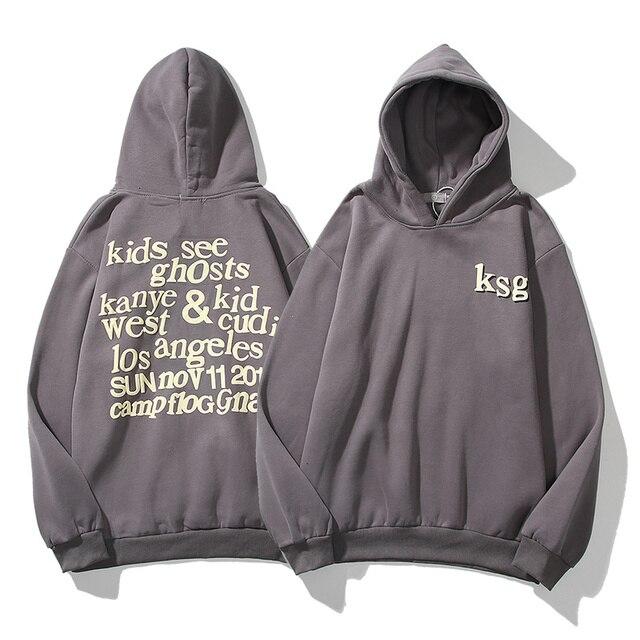 Kanye Kids See Ghosts Letter Printed Grey Sweatshirt Hoodie 1