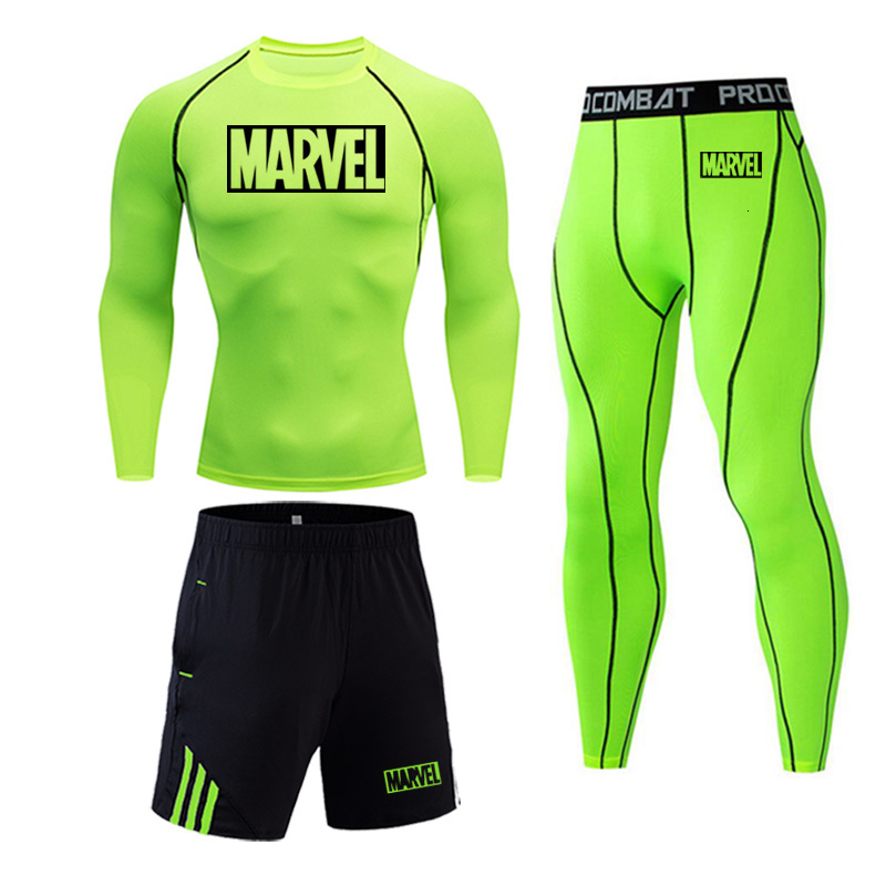 MARVEL Sport Set Men's Compression Set Solid Color Teen Long Sleeve T Shirt Fitness Men MMA T-Shirts Tights Brand Clothing 4XL