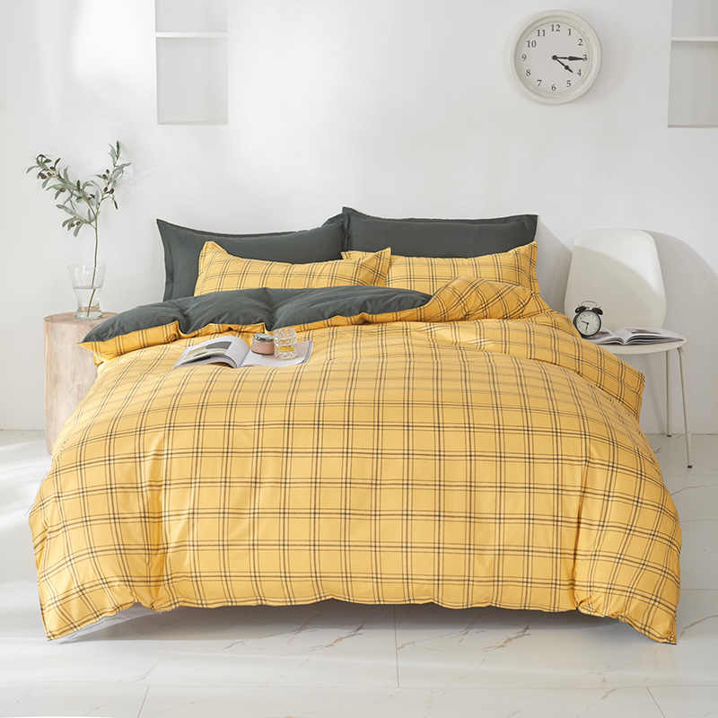 Yellow Plaid Bedding Set Cartoon King