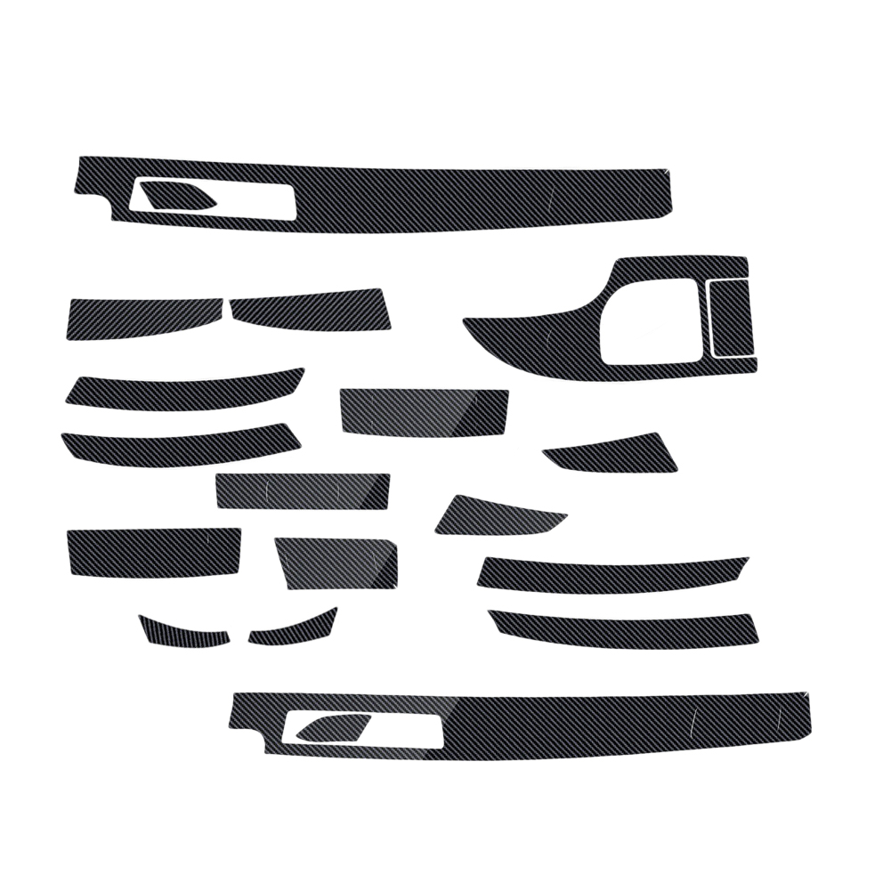 DWCX 18pcs 5D Glossy <font><b>Carbon</b></font> Fiber Style <font><b>Interior</b></font> Decoration Sticker Decal Trim Fit For <font><b>BMW</b></font> 5-Series <font><b>E60</b></font> 2003-2007 2008 2009 2010 image