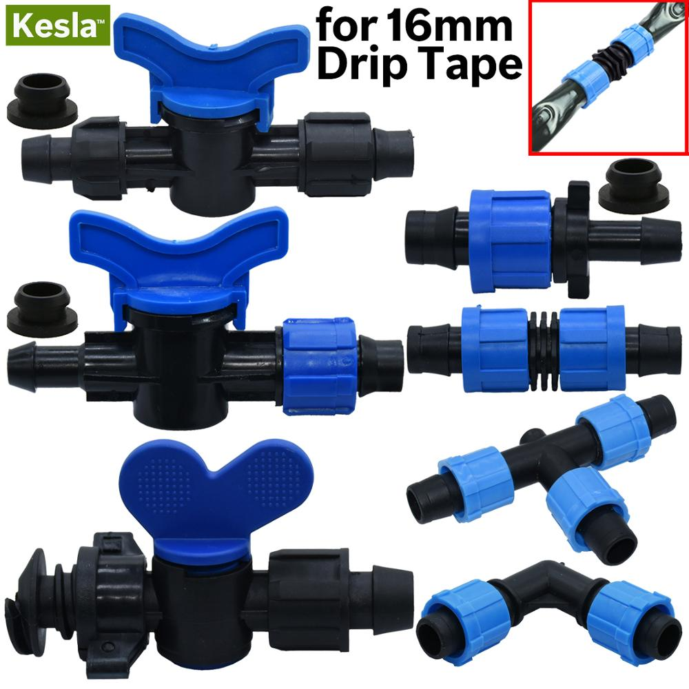 """16mm 5/8"""" Drip Irrigation Tape Shut Off Valve End Plug Connector Thread Lock Garden Watering System Greenyhouse to PVC Hard Pipe