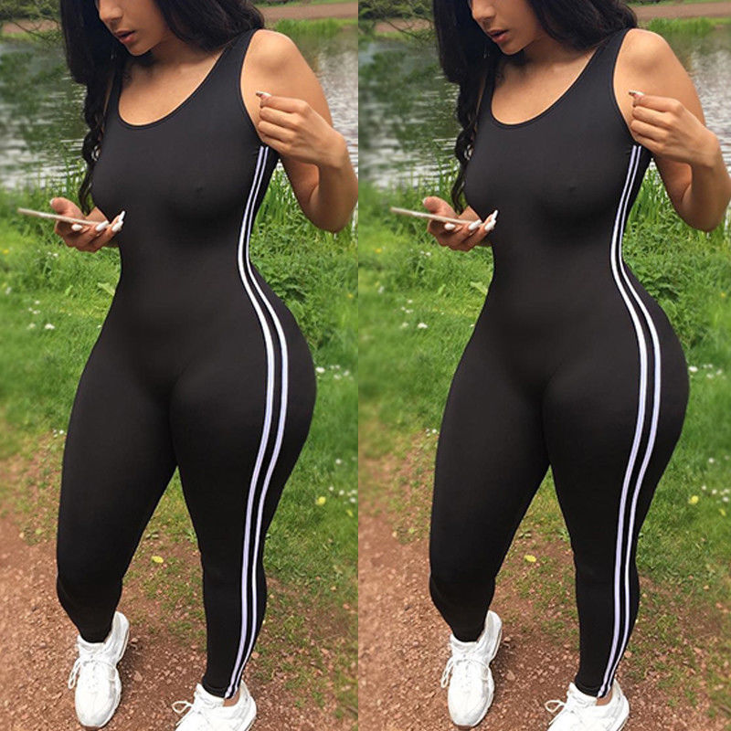 Sexy Women Yoga Jumpsuit Sports Gym Running Fitness Legging Pants Athletic Sleeveless Romper Tracksuit Workout Clothes
