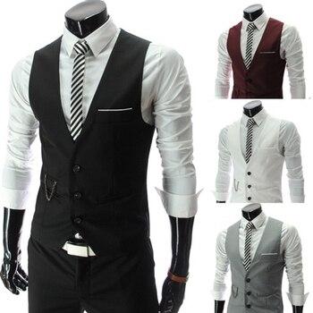 Men Suit Vest Korean Version Casual Slim Fit  Business Vest Waistcoat Men