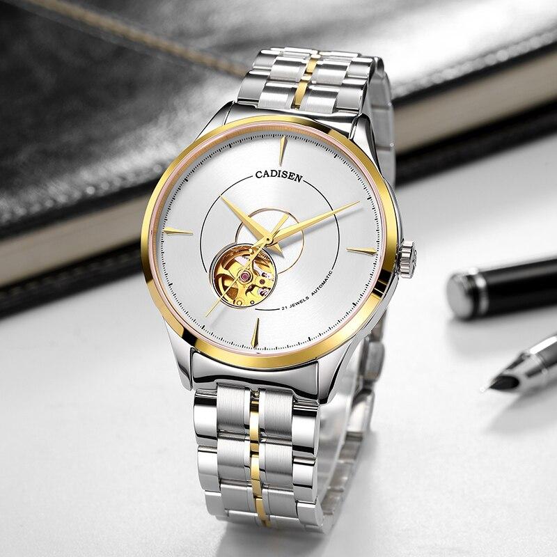 CADISEN gold men watches automatic mechanical top luxury brand men wristwatch waterproof 50m business watch Relogio Masculino