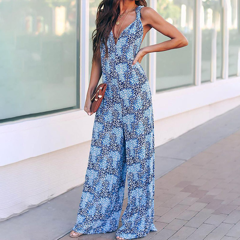 Summer Boho Print  Backless Women's Jumpsuit Cross V-neck Wide Leg Sleeveless Female Rompers 2020 Spring Holiday Lady Jumpsuits