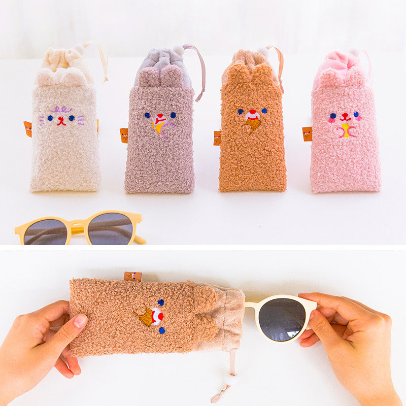 Bentoy Plush Glasses Pouch Embroidered Bear Student Sunglasses Case Women Travel Portable Eyeglasses Pouch Eyewear Accessories