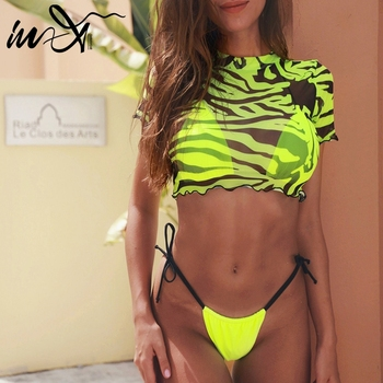 In-X 3 piece swimsuit women Neon green bikini 2020 Sexy push up swimwear women String micro bikini set High cut bathing suit new 1