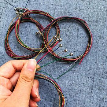 6 unids/set cuerdas de guitarra acústica Arco Iris guitarra multicolor cuerdas E-A para guitarra acústica de cuerdas