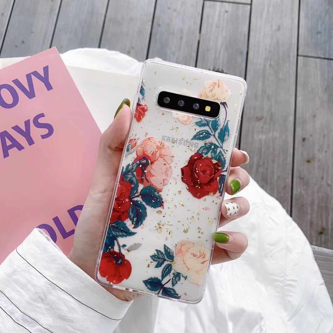 Flower Glitter Sparkle Gold Foil Clear Soft Silicone TPU Case For Samsung Galaxy S9 S10 S10e S20 Ultra Note 8 9 10 Plus Cover