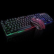 K-13 USB Wired Rainbow Backlit illuminated Multimedia Ergonomic Gaming Keyboard + 2400DPI Pro Gaming Mouse Sets rxe x6 usb wired 800 1600 2400dpi gaming mouse w led light black