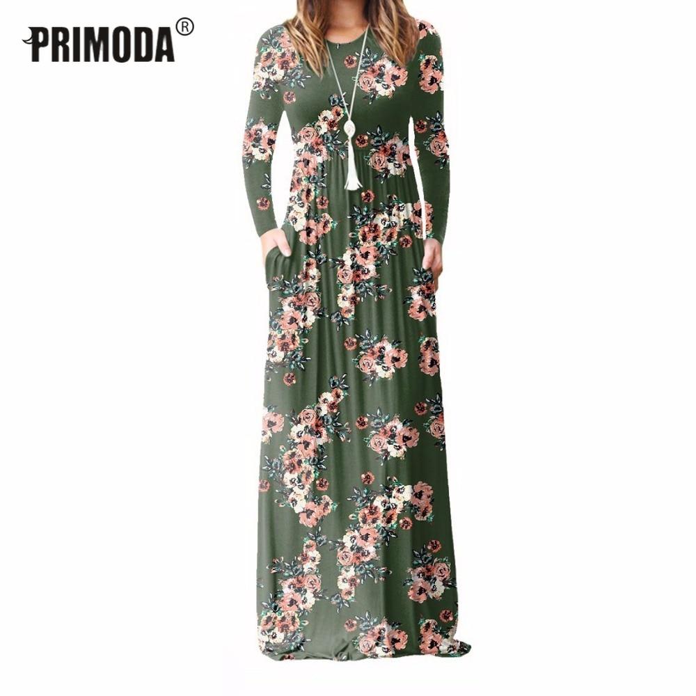 Xxl plus tamanho longo vestido feminino 2019 outono novo impresso maxi vestido dropship casual andar de comprimento sundress bolsos festa 7 cores