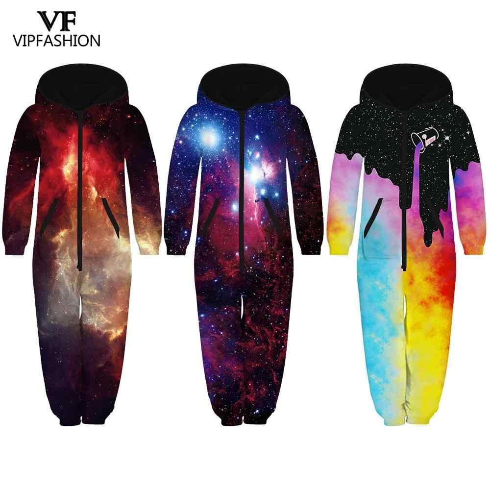 VIP Fashion nueva familia traje de mono de los hombres de las mujeres estrellada galaxia pijamas de los niños con cremallera con capucha ropa