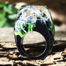 New Epoxy Resin Magic Wooden Rings For Women Flowers Ring Jewelry Fashion Natural Landscape Wood Rectangle Gifts