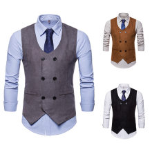 EBay Spring And Autumn New Style Casual Fashion Men Ouma Suede V-neck Double Breasted Waistcoat Suit Vest(China)