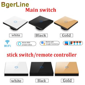 1 gang wifi przełącznik ścienny RF433 433MHz przełącznik dotykowy sterowanie bezprzewodowe sterowanie głosem ue pracy pojedynczy przełącznik drutu ognia 170-240V tanie i dobre opinie BgerLine wireless smart switch Z tworzywa sztucznego ROHS Przełączniki wifi-SQ Pilot zdalnego sterowania about 30-50m