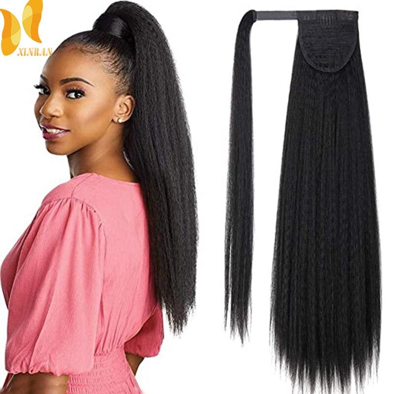 XINRAN Kinky Straight Long Ponytail Hair Extension 24 Inch Magic Paste Heat Resistant Wrap Around Yaki Ponytail for Black Women