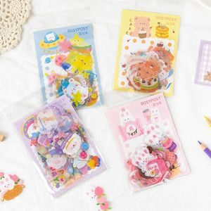 MINKYS New Arrival 40pcs/pack Kawaii Bear Rabbit Decorative Stickers For Journal Crafts Scrapbooking Sticker School Stationery