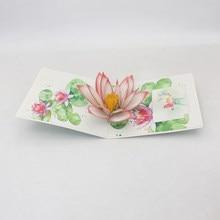 Tarjetas de Felicitación hechas a mano con estampado de flor de loto en 3D, tarjetas para Día de la Madre, Día de la madre, regalo creativo de cumpleaños