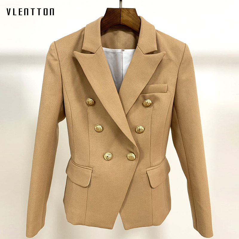 High Quality Autumn Women's Jacket Blazer Metal Lion Button Double Breasted Suit Coat Female Outwear Office Ladies Blazer Mujer