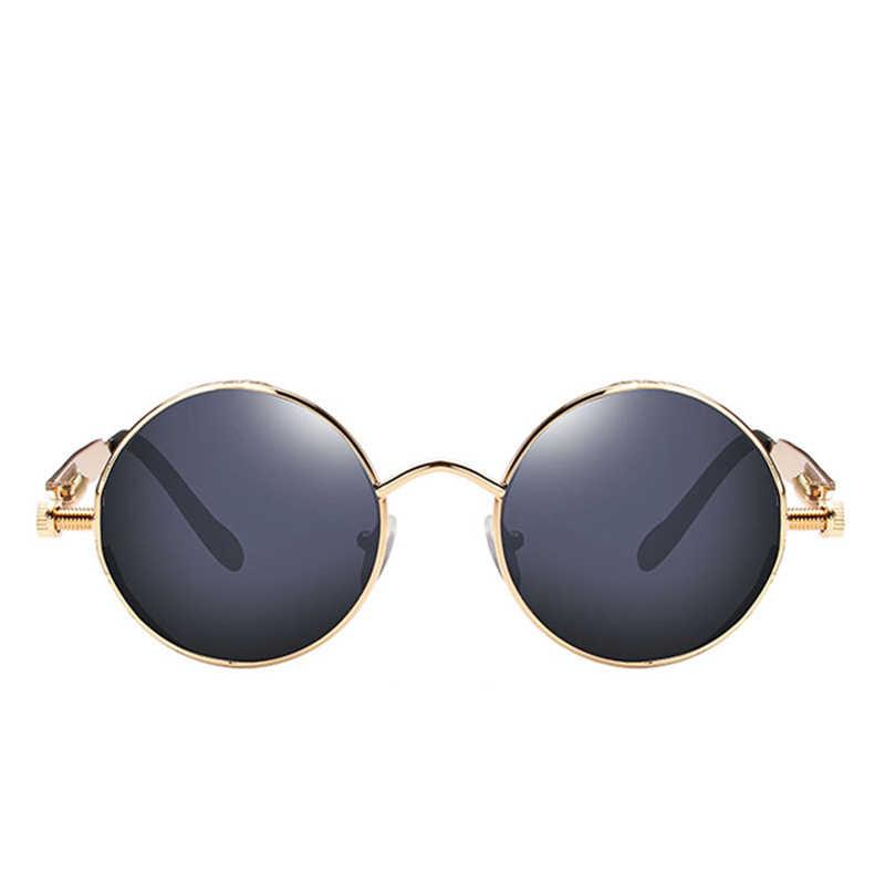 Lunettes de soleil Steampunk en métal pour hommes et femmes, rondes, Design de marque, Vintage, haute qualité, 2021