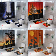 Shower Curtain Bath-Mat-Set Elephant Toilet-Cover-Sets Polyester Printed Waterproof African