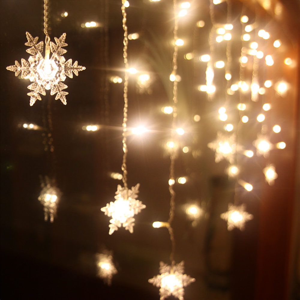 USB Snowflake LED Strip Light Curtain Fairy Lamp Party Christmas Wedding New Year Decoration 4 Colors 1.5x0.5m 2.5x0.5m 3x1m