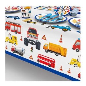 Строительные грузовики инженерные автомобили партии одноразовая посуда Набор тарелка соломы День Рождения украшения дети торт Декор