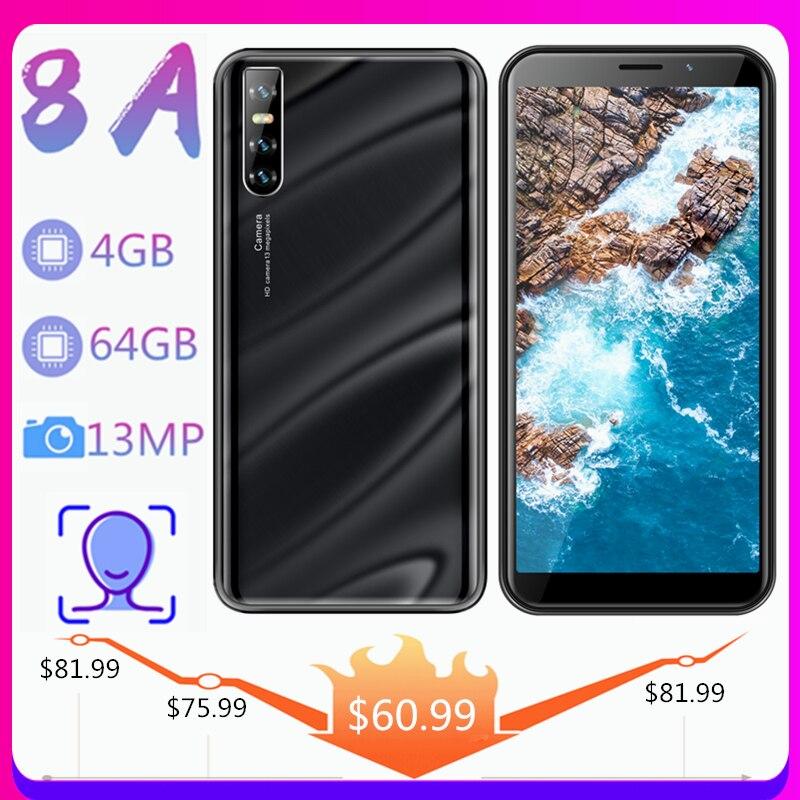 Смартфоны 8A Android Celulares 4 Гб RAM 64 Гб ROM 13 + 5 Мп четырехъядерные 6,0 дюймов Face разблокированные сотовые телефоны мобильные телефоны