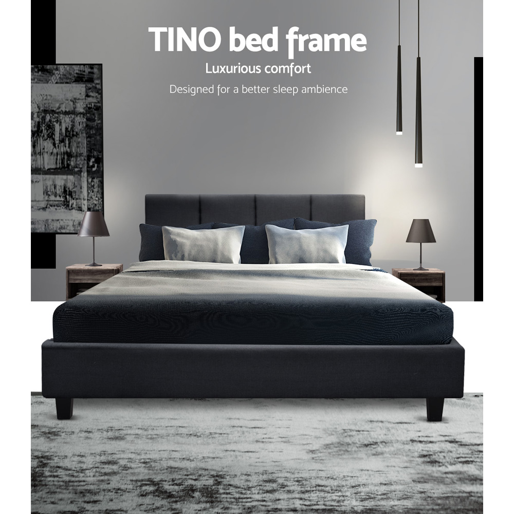204 X 144cm Artiss TINO Double Size Bed Frame Base Fabric Headboard Wooden Mattress Easy Assembly Bed Charcoal Home Furniture A2
