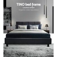204X144 см Artiss TINO двойной размер каркас кровати основание изголовье ткани деревянный матрас легко сборка кровать древесный уголь домашняя меб...