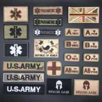 3D Parche táctico tipo de sangre Grupo Militar del Ejército parches para ropa bordado pegatinas, insignias en la mochila rayas apliques