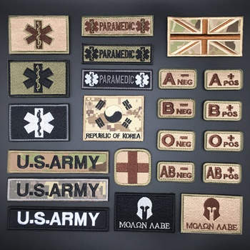 3D Velcro Patch Tactical Blood Type Group US ARMY Military Badges Embroidered Patches for Clothes Stcikers for Backpack Stick-On embroidered patches medic skull tactical military patches paramedic decorative reflective medical cross embroidery badges