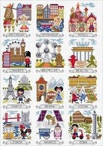 HH krzyż zestaw do szycia zwierząt nić bawełniana kłódka miłość płótno przyszywany haft magazyn wycieczka mapa krajów europejskich