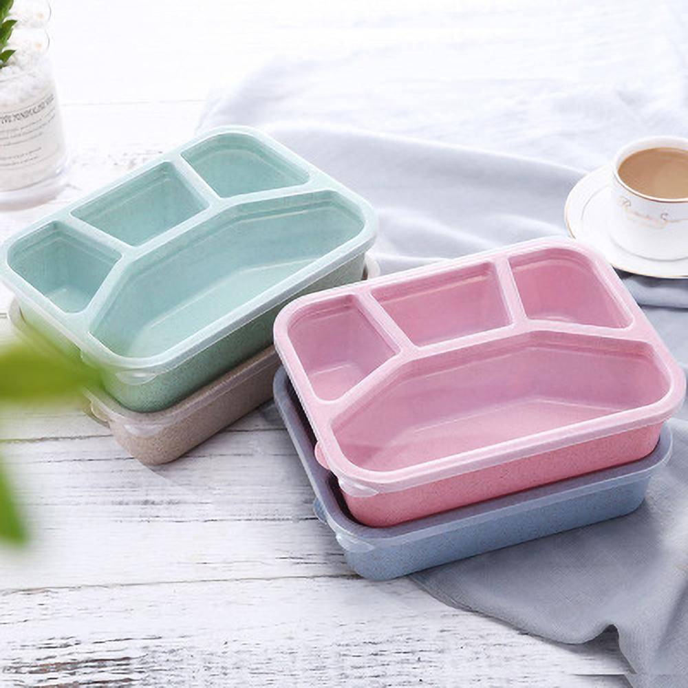 Wheat Lunch Box 4 Lattice Microwave Fast Food Fruit Box Office Worker Picnic Food Container High Quality Lunch Box