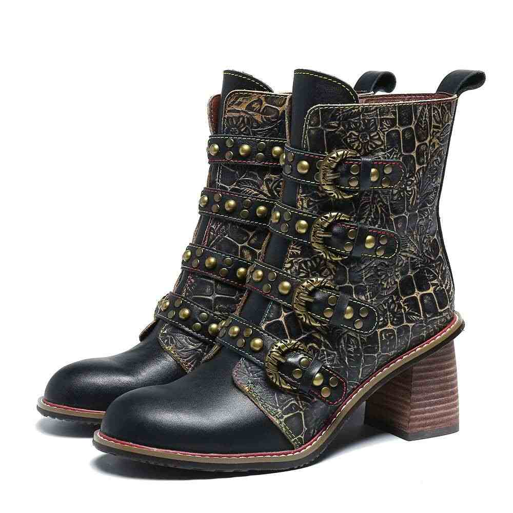 SOCOFY Retro Laarzen Metalen Gesp Klinknagel Lederen Zwarte Knappe Hoge Hak Rits Laarzen Schoenen Vrouwen Botines Mujer 2019