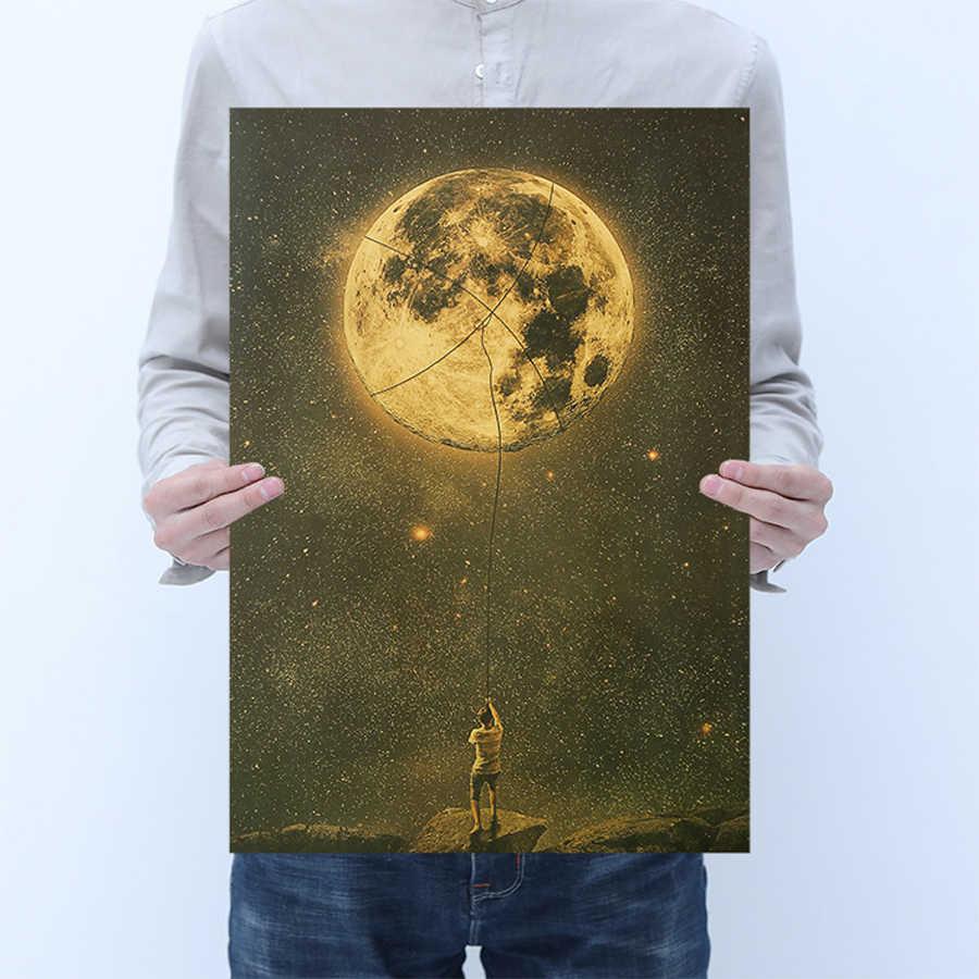AIMEER בציר קראפט כוכב רטרו נייר פוסטר חלל אסטרונאוט עם קולה לתפוס חלום תמונה עיצוב הבית ציור קיר מדבקה