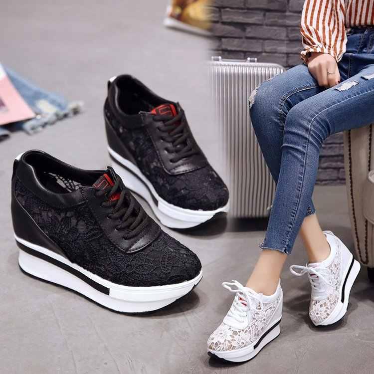 2019 verão sapatos femininos cunha malha rendas até coringa pequenos sapatos brancos respirável fundo grosso plataforma sapatos casuais tênis