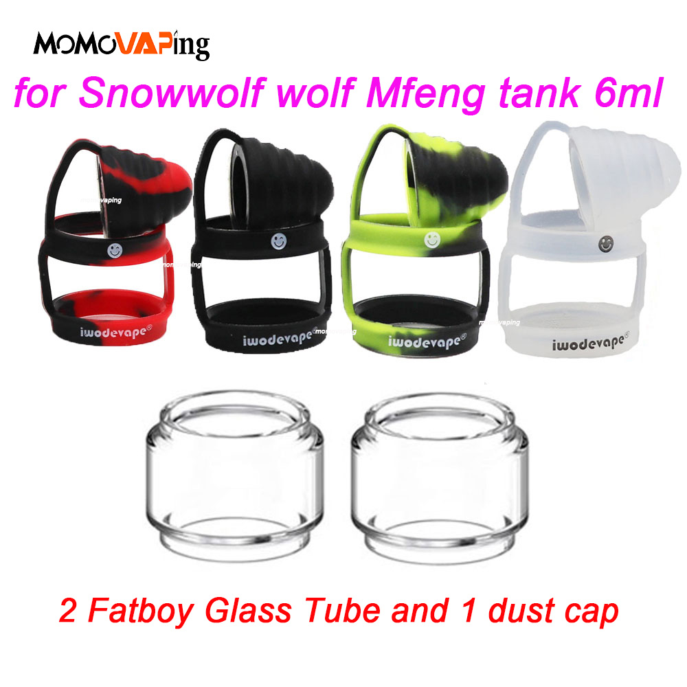 (3 In 1)for Snowwolf Wolf Mfeng Tank 6ml Replacement 2PCS Clear Bubble Glass Tube + 1PC Protective Silicone Sleeve Dust Cap Ring