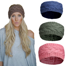 hair band 2021 pure color knitted wool empty top hat headband hair band to keep warm in autumn and winter
