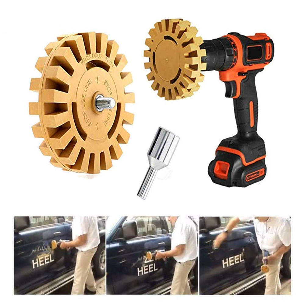"""4/"""" Car Decal Removal Eraser Wheel W// Rubber Power Drill Adapter Sticker Remover"""