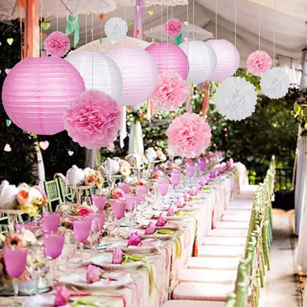Wedding Baby Shower Birthday Party Decoration 10-15-20-25-30-35-40cm White Round Chinese Paper Lantern Tissue Paper Flower Balls