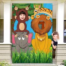Selva animal decoração festa de aniversário adereços selva fundo foto porta banner