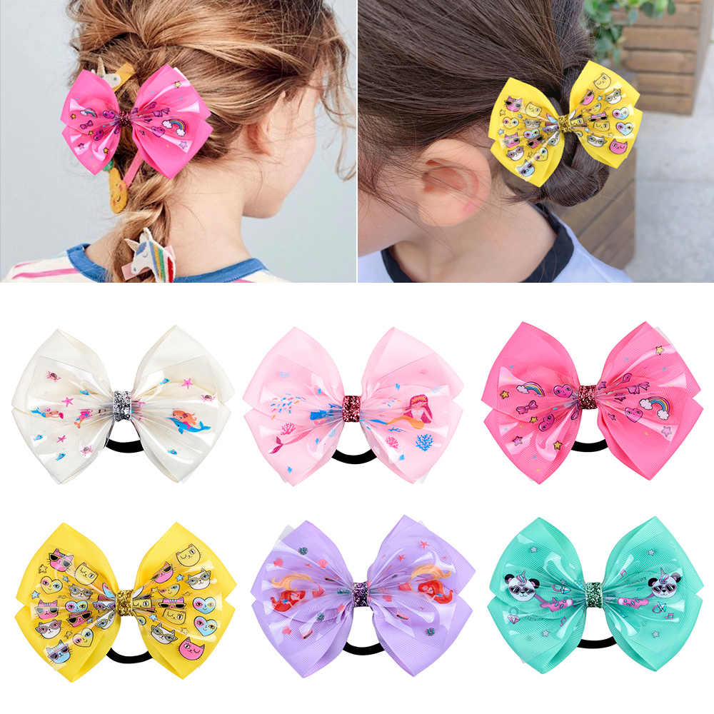 5.1 inch Multicolor Mermaid Rainbow Hair Bows Ponytail Holder Handband Handmade Elastic Hair Rope Scrunchie Hair Accessories
