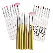 Acrylic Nail Pen Brush Set For Carving Drawing Dotting Nail Art Brushes Builder Flat Liner UV Poly Nail Gel Polish Manicure Tool