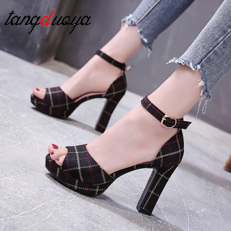 Woman High Heels Party Ankle Strap Summer Sandals Galadiator Zapatos Mujer Platform Sexy Party Sandals Woman Shoes High Heel