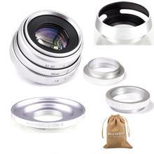 Gümüş Mini 35mm f/1.6 APS C CCTV Lens + adaptör halkası + 2 makro halka + lens hood canon EF M EOSM aynasız kamera M1/M3/M5