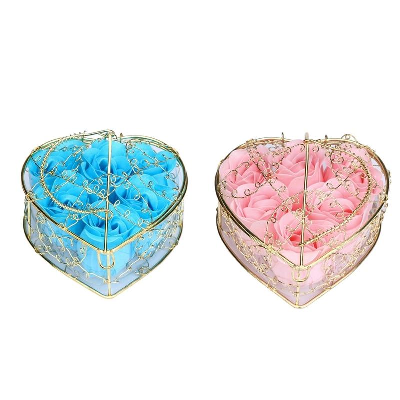 12Pcs Scented Rose Flower Petal Bath Body Soap Wedding Party Gift Home DIY Decoration (Blue&Pink)