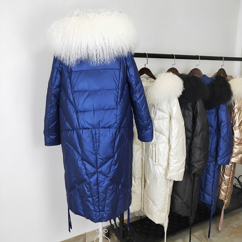 Winter Women Hooded White Duck Down Parka Large Natural Fur Collar Down Long Jackets Casual Female Snow Thick Outerwear