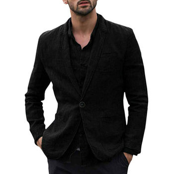 2019 New Male Single Button Cotton Linen Casual Suit Men's Wide Peaked Lapel Groom Office Business Blazer Plus Size